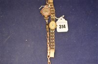 Lot 314-Two 9ct gold lady's watches