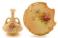 Lot 69 - Royal Worcester vase; and dessert plate.