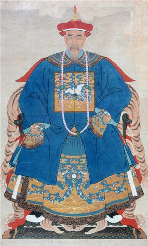 Lot 35-Chinese Qing Dynasty: a watercolour ancestral portrait.