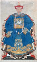 Lot 35 - Chinese Qing Dynasty: a watercolour ancestral portrait.