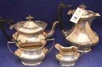 Lot 708 - Silver four piece tea set