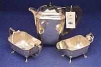 Lot 684 - Three piece silver teaset