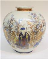 Lot 42 - A Japanese Fukagawa Seiji porcelain globular vase.