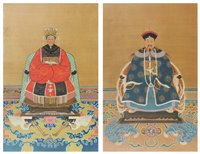 Lot 36 - Pair of Chinese watercolour portraits on silk.