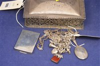 Lot 686 - Silver ring box and other items