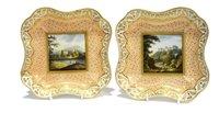 Lot 100 - Pair of Chamberlain's Worcester dessert plates.