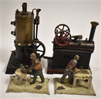 Lot 75-Marklin and another steam engine and tinplate figures