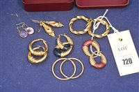 Lot 720 - Gold earrings and others