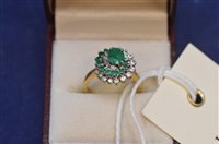Lot 717 - Emerald and diamond ring