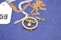 Lot 359-Peridot and pearl pendant