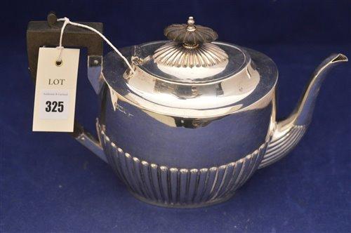 Lot 325-Silver tea pot