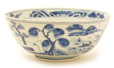 Lot 16-A 19th Century Chinese blue and white bowl.