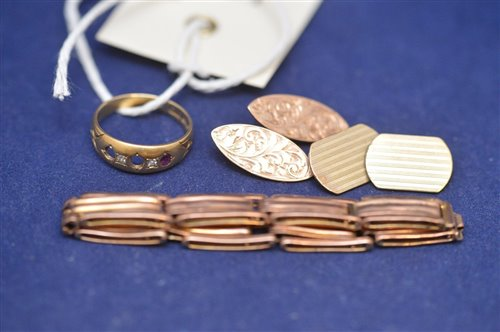 Lot 371-gold ring, cufflinks and strap