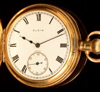 Lot 1168-18ct gold Elgin half hunter pocket watch