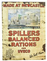 Lot 142-Spillers Balanced Rations and Uveco enamel sign