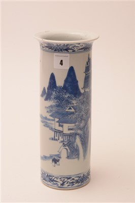 Lot 4-A late 19th Century Chinese blue and white porcelain sleeve vase.