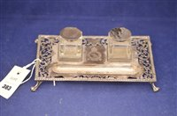 Lot 383-Silver pen and ink stand