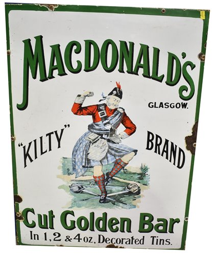 "Lot 143-Macdonald's ""Kilty"" Brand enamel sign"