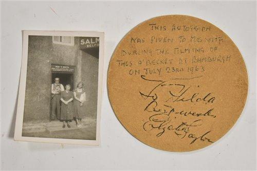 Lot 174 - Elizabeth Taylor signed beer matt