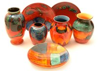 Lot 8-Seven pieces of modern Poole pottery.