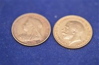Lot 364-Two half sovereigns