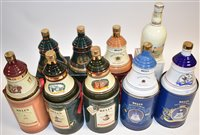 Lot 1005-Nine Whisky decanters, mostly full