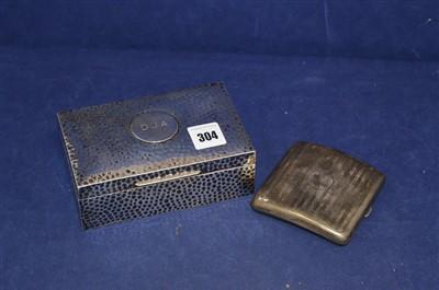Lot 304-Silver mounted cigarette box and cigarette case