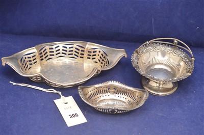 Lot 306-Three silver bon bon dishes