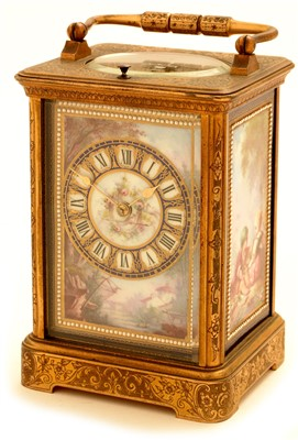 Lot 746-Richard & Co: a brass and porcelain mounted repeating carriage clock