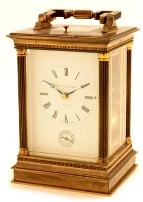 Lot 747 - Matthew Norman: a 20th Century brass cased carriage alarm clock