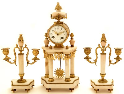 Lot 743 - A.D. Mougin: a French gilt bronze and marble three piece clock garniture
