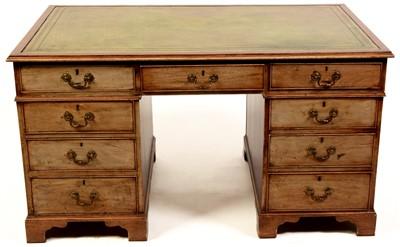 Lot 772 - A Georgian style mahogany partner's desk.