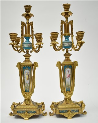 Lot 443-A pair of candelabra