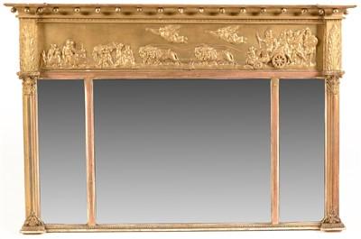 Lot 761 - A Regency breakfront overmantel mirror.