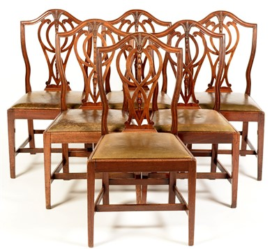 Lot 757 - Six Georgian style mahogany dining chairs.