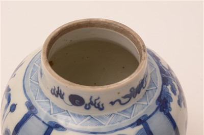 Lot 9-A Chinese blue and white baluster jar and cover.