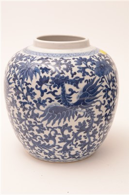 Lot 359-A pair of late 19th Century Chinese blue and white porcelain ginger jars and covers.