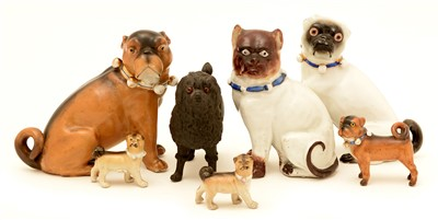 Lot 141 - 19th/early 20th Century German porcelain models dogs.