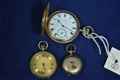 Lot 345-9ct gold fob watch, a gilt pocket watch and sovereign case