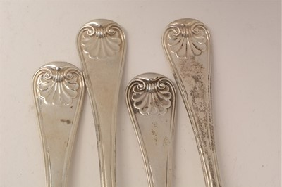 Lot 521-A George IV suite of silver cutlery