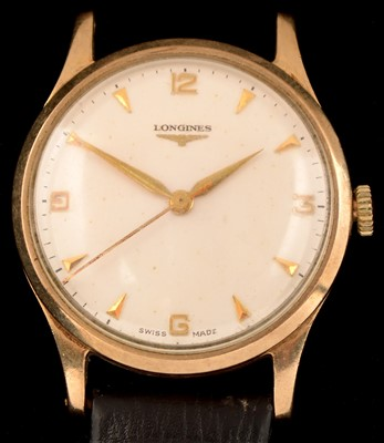 Lot 8-A gent's late 1950's Longines 9ct. gold wristwatch.