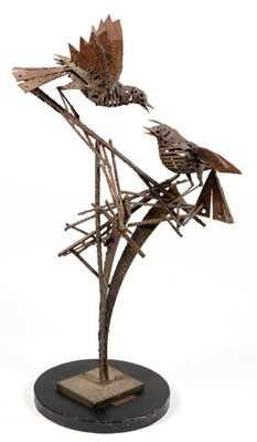 Lot 1632-Sculpture of two birds on branches.
