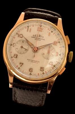 Lot 22 - Delrio Chronographe Suisse: a gentleman's 18k chronograph wristwatch