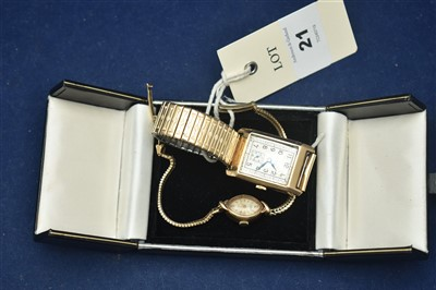 Lot 21-Two gold wristwatches