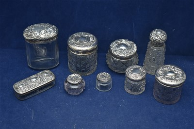 Lot 5-Silver mounted cut glass dressing table pots