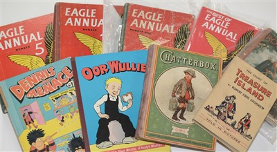 Lot 1667 - Treasure Island, Chatterbox and Eagle Annuals etc.