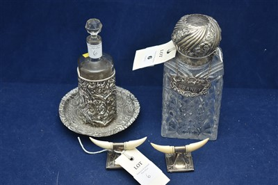 Lot 6-Silver mounted knife rests, and two decanters