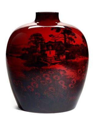 Lot 1506-Doulton Flambe vase