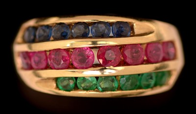 Lot 70-Sapphire, ruby and emerald ring