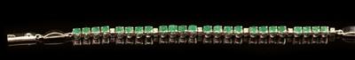 Lot 69-Emerald and diamond bracelet